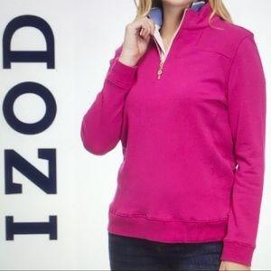 NEW Izod 1/4 Zip Knit Sweatshirt Pullover